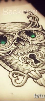 фото тату сова с ключом от 18.10.2017 №017 – owl tattoo with key – tatufoto.com