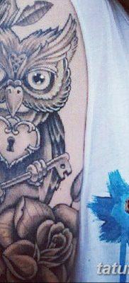 фото тату сова с ключом от 18.10.2017 №018 – owl tattoo with key – tatufoto.com