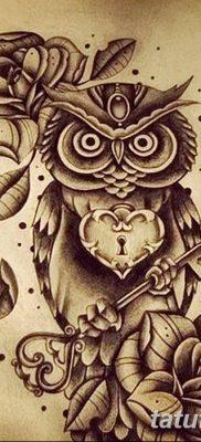 фото тату сова с ключом от 18.10.2017 №021 – owl tattoo with key – tatufoto.com
