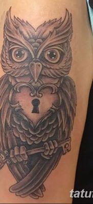 фото тату сова с ключом от 18.10.2017 №024 – owl tattoo with key – tatufoto.com