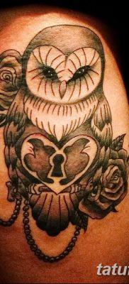 фото тату сова с ключом от 18.10.2017 №026 – owl tattoo with key – tatufoto.com