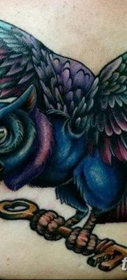 фото тату сова с ключом от 18.10.2017 №027 – owl tattoo with key – tatufoto.com