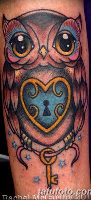 фото тату сова с ключом от 18.10.2017 №031 – owl tattoo with key – tatufoto.com