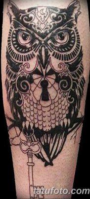 фото тату сова с ключом от 18.10.2017 №032 – owl tattoo with key – tatufoto.com