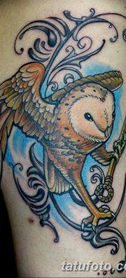 фото тату сова с ключом от 18.10.2017 №035 – owl tattoo with key – tatufoto.com
