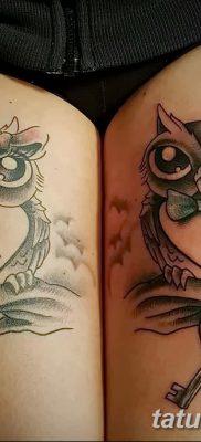 фото тату сова с ключом от 18.10.2017 №036 – owl tattoo with key – tatufoto.com