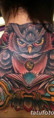 фото тату сова с ключом от 18.10.2017 №038 – owl tattoo with key – tatufoto.com