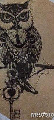 фото тату сова с ключом от 18.10.2017 №039 – owl tattoo with key – tatufoto.com