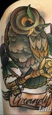 фото тату сова с ключом от 18.10.2017 №040 – owl tattoo with key – tatufoto.com