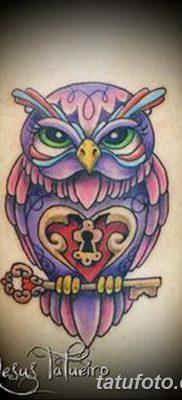 фото тату сова с ключом от 18.10.2017 №041 – owl tattoo with key – tatufoto.com