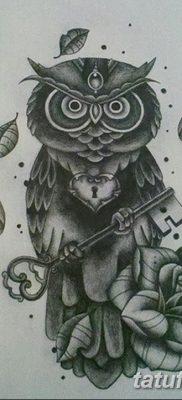 фото тату сова с ключом от 18.10.2017 №042 – owl tattoo with key – tatufoto.com