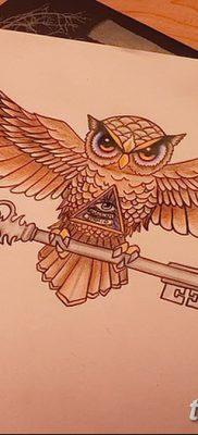 фото тату сова с ключом от 18.10.2017 №043 – owl tattoo with key – tatufoto.com