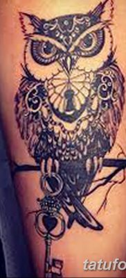 фото тату сова с ключом от 18.10.2017 №046 – owl tattoo with key – tatufoto.com