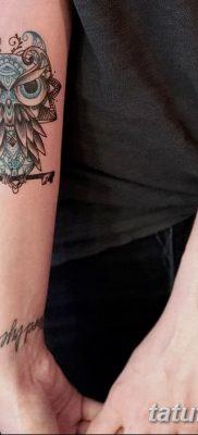 фото тату сова с ключом от 18.10.2017 №047 – owl tattoo with key – tatufoto.com