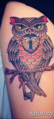 фото тату сова с ключом от 18.10.2017 №049 – owl tattoo with key – tatufoto.com