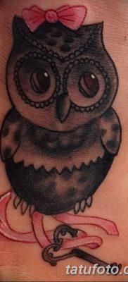 фото тату сова с ключом от 18.10.2017 №050 – owl tattoo with key – tatufoto.com