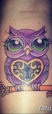 фото тату сова с ключом от 18.10.2017 №054 – owl tattoo with key – tatufoto.com