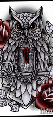 фото тату сова с ключом от 18.10.2017 №055 – owl tattoo with key – tatufoto.com
