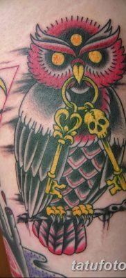 фото тату сова с ключом от 18.10.2017 №055 – owl tattoo with key – tatufoto.com 46234362