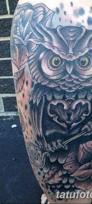 фото тату сова с ключом от 18.10.2017 №057 – owl tattoo with key – tatufoto.com