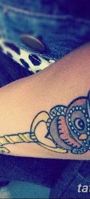 фото тату сова с ключом от 18.10.2017 №058 – owl tattoo with key – tatufoto.com