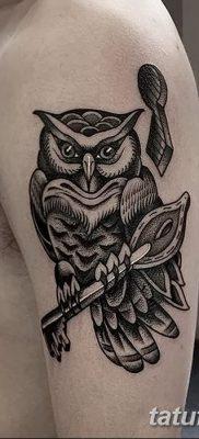 фото тату сова с ключом от 18.10.2017 №059 – owl tattoo with key – tatufoto.com