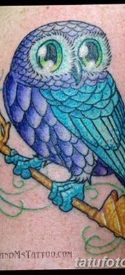 фото тату сова с ключом от 18.10.2017 №064 – owl tattoo with key – tatufoto.com