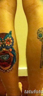 фото тату сова с ключом от 18.10.2017 №067 – owl tattoo with key – tatufoto.com