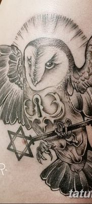 фото тату сова с ключом от 18.10.2017 №068 – owl tattoo with key – tatufoto.com