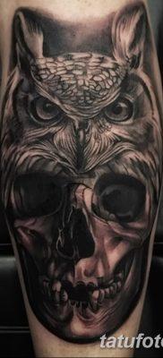фото тату сова с черепом от 23.10.2017 №001 – tattoo owl with a skull – tatufoto.com