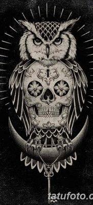 фото тату сова с черепом от 23.10.2017 №002 – tattoo owl with a skull – tatufoto.com