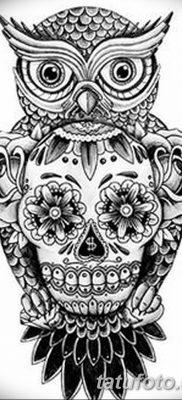 фото тату сова с черепом от 23.10.2017 №006 — tattoo owl with a skull — tatufoto.com