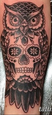 фото тату сова с черепом от 23.10.2017 №010 – tattoo owl with a skull – tatufoto.com