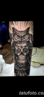 фото тату сова с черепом от 23.10.2017 №013 – tattoo owl with a skull – tatufoto.com