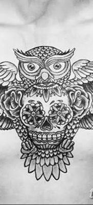 фото тату сова с черепом от 23.10.2017 №014 – tattoo owl with a skull – tatufoto.com
