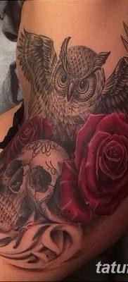 фото тату сова с черепом от 23.10.2017 №016 — tattoo owl with a skull — tatufoto.com