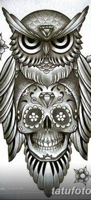 фото тату сова с черепом от 23.10.2017 №017 – tattoo owl with a skull – tatufoto.com