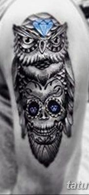 фото тату сова с черепом от 23.10.2017 №019 – tattoo owl with a skull – tatufoto.com