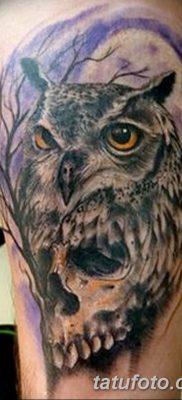 фото тату сова с черепом от 23.10.2017 №020 — tattoo owl with a skull — tatufoto.com