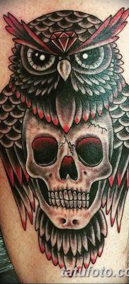 фото тату сова с черепом от 23.10.2017 №024 – tattoo owl with a skull – tatufoto.com