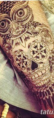 фото тату сова с черепом от 23.10.2017 №025 — tattoo owl with a skull — tatufoto.com