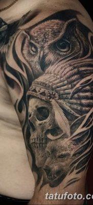 фото тату сова с черепом от 23.10.2017 №026 – tattoo owl with a skull – tatufoto.com
