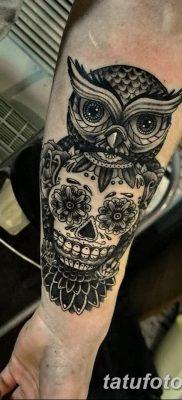 фото тату сова с черепом от 23.10.2017 №028 – tattoo owl with a skull – tatufoto.com