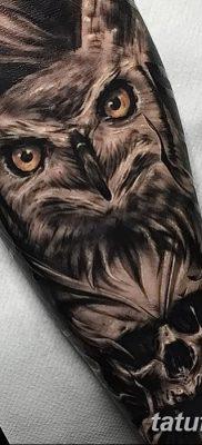 фото тату сова с черепом от 23.10.2017 №031 – tattoo owl with a skull – tatufoto.com