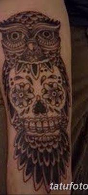 фото тату сова с черепом от 23.10.2017 №032 – tattoo owl with a skull – tatufoto.com