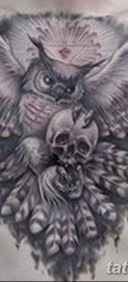 фото тату сова с черепом от 23.10.2017 №033 – tattoo owl with a skull – tatufoto.com
