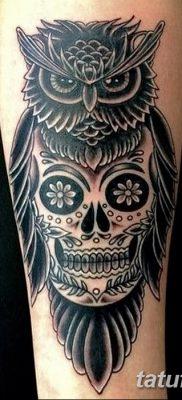 фото тату сова с черепом от 23.10.2017 №036 – tattoo owl with a skull – tatufoto.com