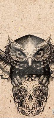 фото тату сова с черепом от 23.10.2017 №037 — tattoo owl with a skull — tatufoto.com