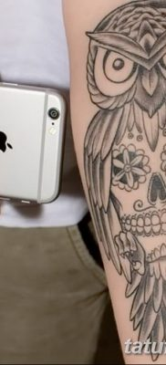 фото тату сова с черепом от 23.10.2017 №039 – tattoo owl with a skull – tatufoto.com