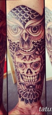фото тату сова с черепом от 23.10.2017 №041 – tattoo owl with a skull – tatufoto.com